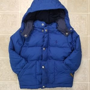 Polo Ralph Lauren royal blue hooded puffer jacket with hood size 2t